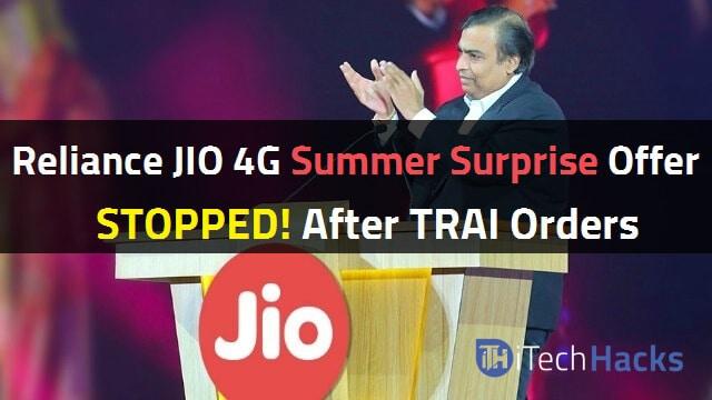 Reliance Jio 4G Withdraw 3 Months Summer Surprise Offer (Jio 4G News)