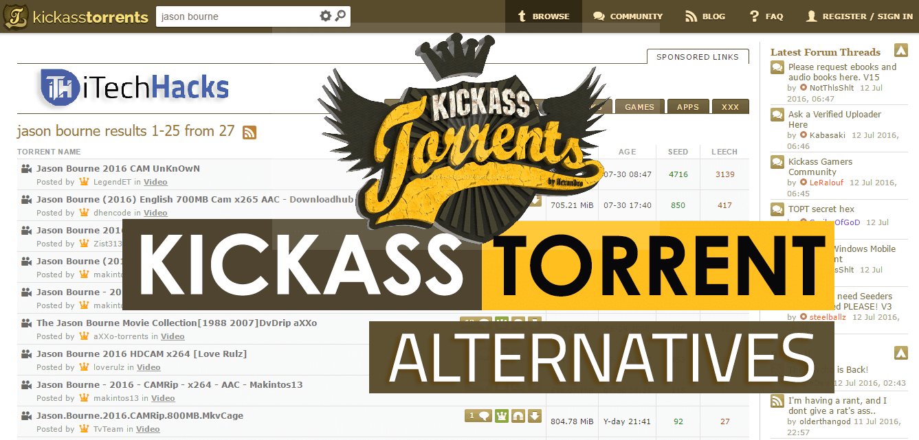 Top 8 Best Kickass Torrent Alternatives For Downloading 2017 | itechhacks