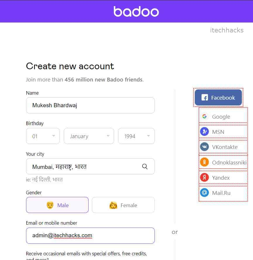 Create Badoo Account