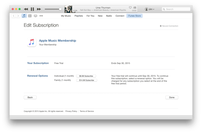 Cancel Apple Music Subscription in iTunes