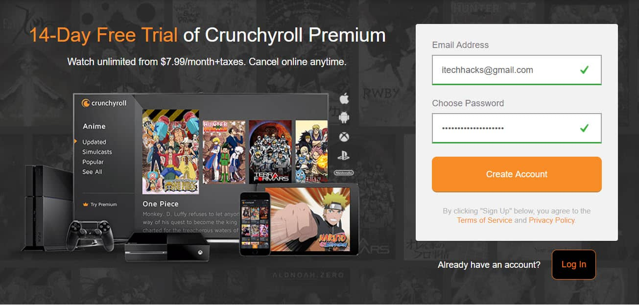 Get Free Crunchyroll Premium Accounts (Free Trial)