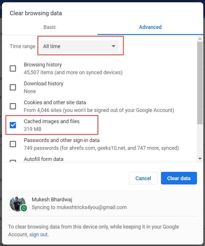 Clear Cache on Google Chrome
