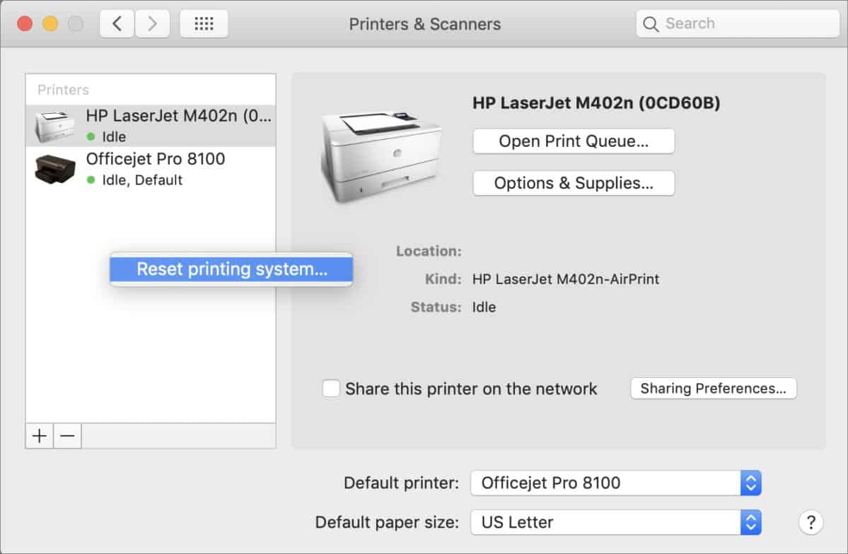 How to turn your Printer Online on MacOS