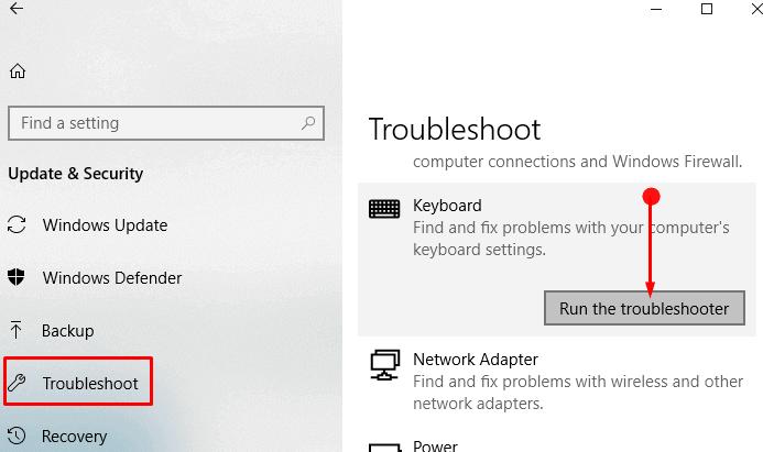 windows 10 keyboard not working