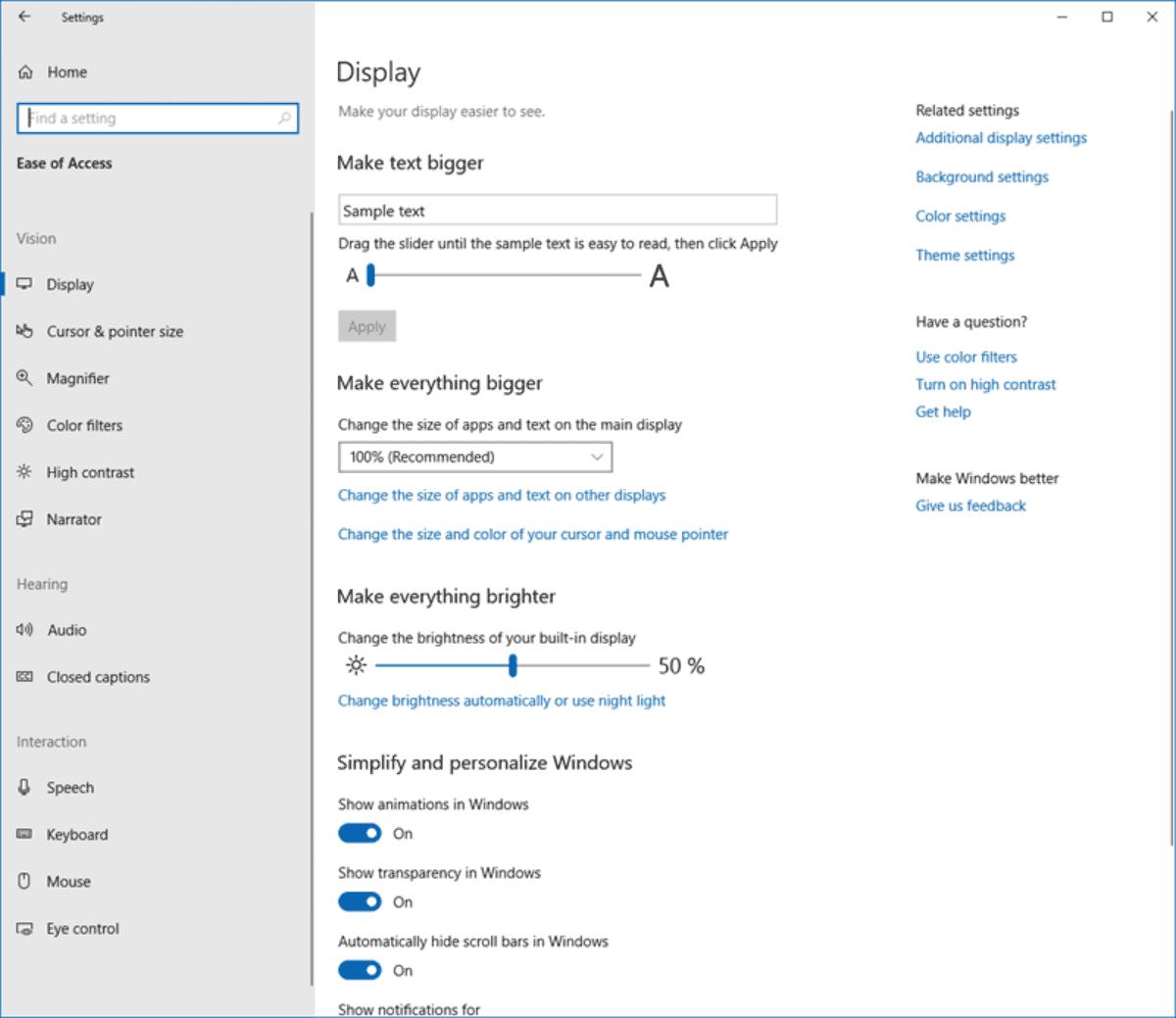 Modify Ease of Access settings