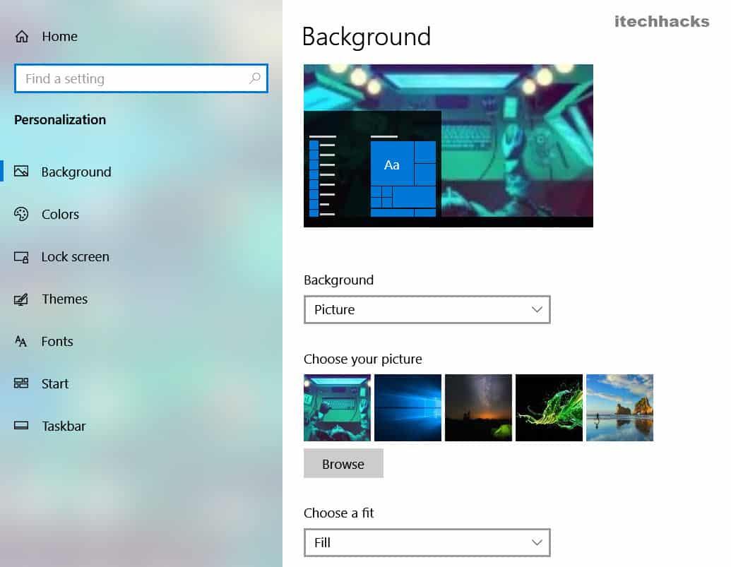 Set a New Desktop Background.