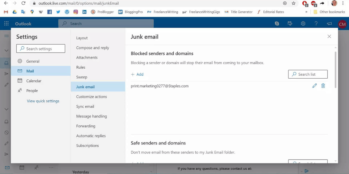 How To Block Emails On Outlook?
