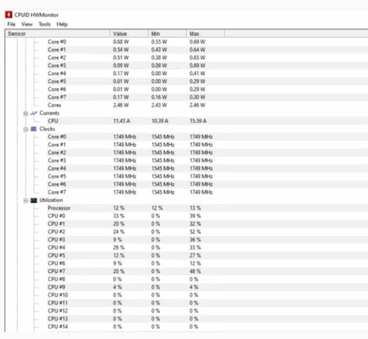 Hardware Monitor - View Windows 11 CPU Temp