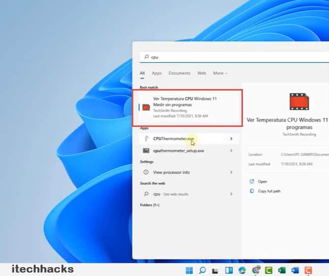 Thermometer - Check Windows 11 CPU Temperature