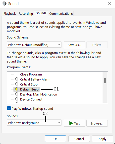 Change the settings using Change system sounds - 6