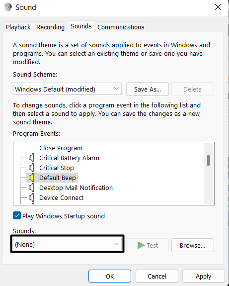 Change the settings using Change system sounds - 8