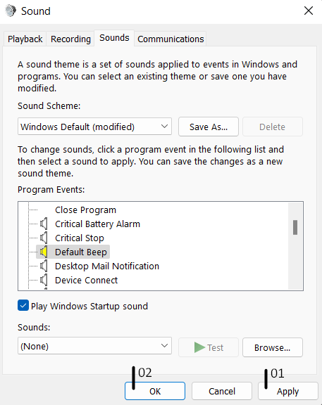 Change the settings using Change system sounds - 9