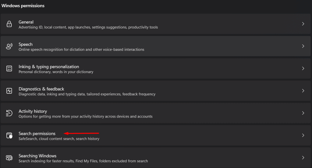 Disable Windows 11 search history - 5