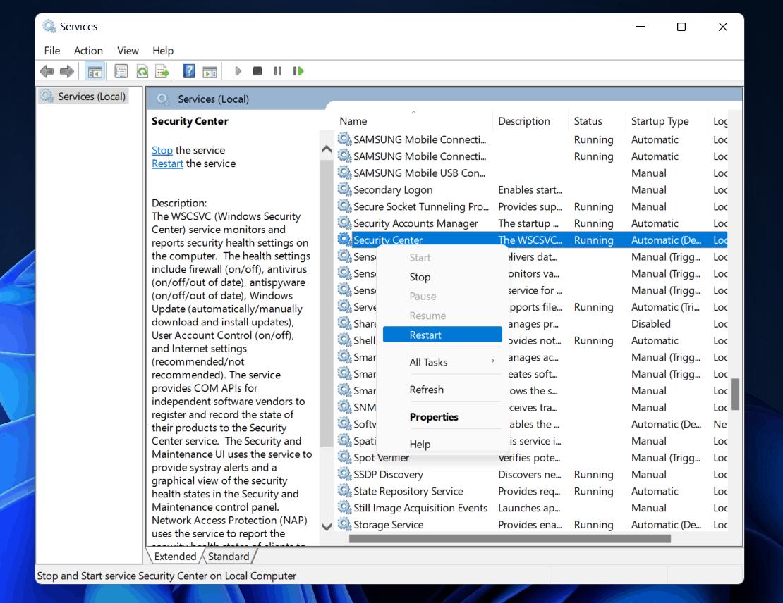 Fix Windows Defender Not Working in Windows 11