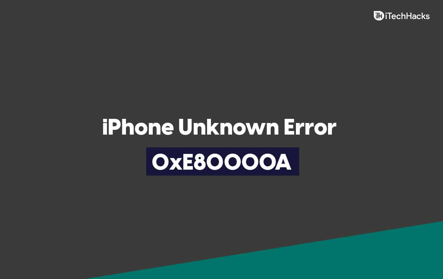 How To Fix iTunes Cannot Connect To iPhone Unknown Error 0xE80000A
